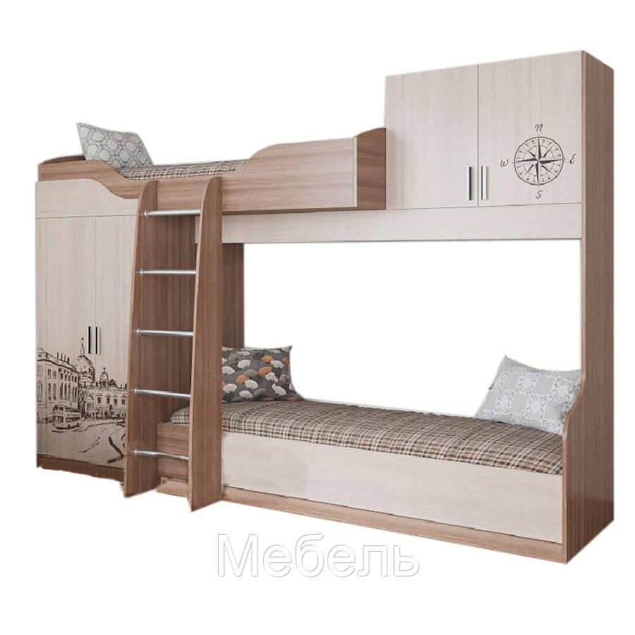 Кровать двухъярусная комбинированная Город SV Мебель 2032*1950*1200