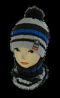Комплект для мальчика шапка на флисе и манишка м 7029. р 3-12 лет   (В.И.В.)