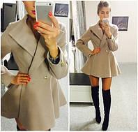 """Пальто женское кашемир+подкладка,низ """"солнце"""""""