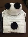 Детская куртка,плащевка на синтепоне,бубоны из натурально меха кролика, фото 3