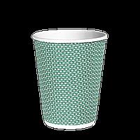 Стакан гофрированный 350мл. (25/20/500) (кв90) Зеленый точка
