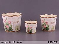 """Набор из 3 металлических кашпо для цветов """"Тюльпаны"""" 730-031"""