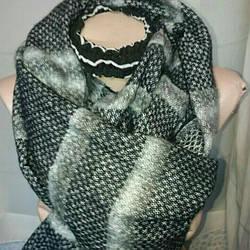 Шарф ёлочка шерсть серого цвета унисекс