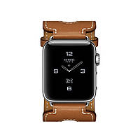 Apple Watch Hermés 38mm Stainless Steel Case with Fauve Barenia Leather Double Buckle Cuff