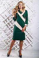 Женское трикотажное платье прямое, с рукавом три четверти, зелёный/беж, размер 52, 54, 56, 58