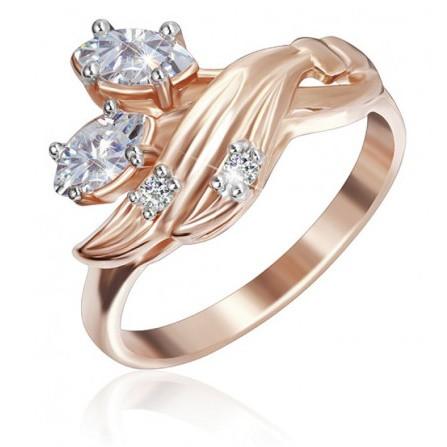 """Серебряное кольцо с фианитами и позолотой """"031"""""""