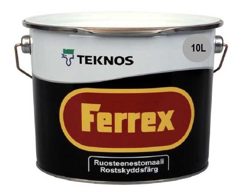 Эмаль алкидная TEKNOS FERREX антикоррозионная серая 10л