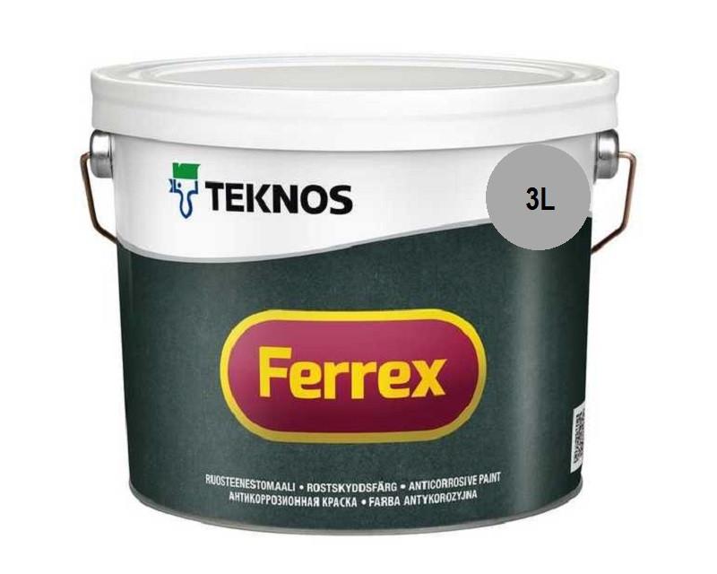 Эмаль алкидная TEKNOS FERREX антикоррозионная серая 3л