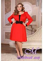 Красивое красное женское платье больших размеров (р. 48-90) арт. Амадея