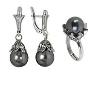 """Гарнитур """"Эртера"""" с жемчугом, покрытый серебром (r51232h6) (В наличии только кольцо 18 размер)"""