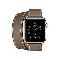 Apple Watch Hermés 38mm Stainless Steel Case with Etoupe Swift Leather Double Tour