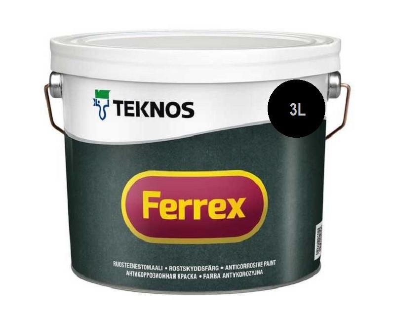 Эмаль алкидная TEKNOS FERREX антикоррозионная черная 3л