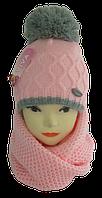 Комплект для девочки шапка и шарф хомут м 7043, акрил, флис, разные цвета   (В.И.В.)