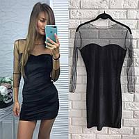 Женское стильное короткое бархатное платье