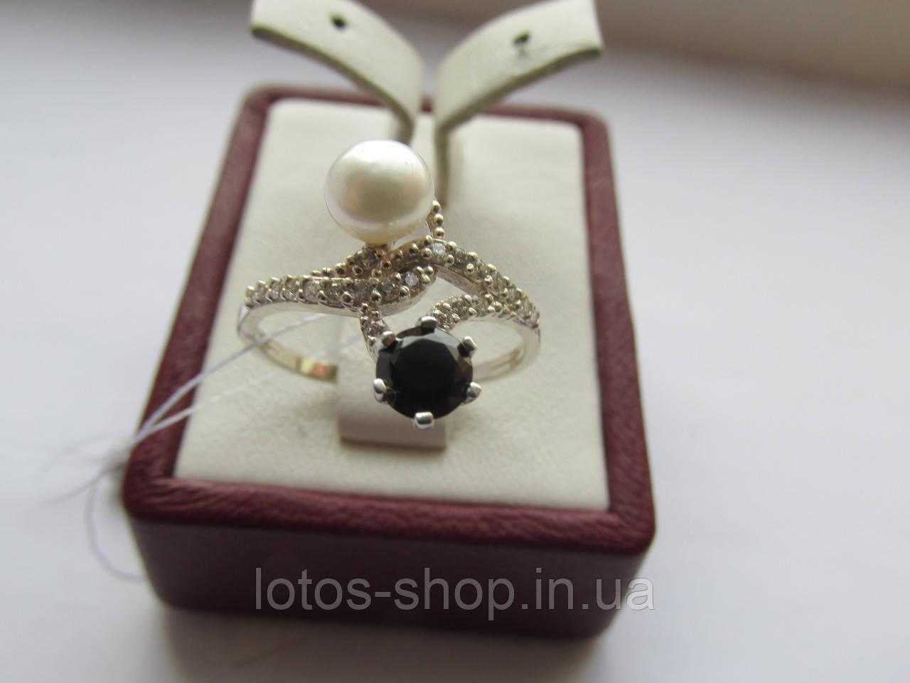"""Серебряное кольцо с жемчугом """"Инь Ян"""""""