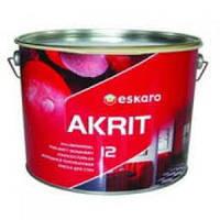 Краска  Akrit 12 9,5 л. Износостойкая моющаяся полуматовая краска для стен