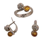 """Гарнитур """"Куба"""" с янтарем (d44712j0) (В наличии только кольцо 18 размер)"""
