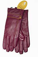 Женские кожаные бордовые перчатки Средние