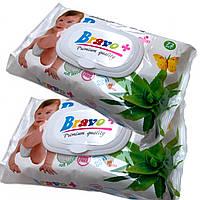 Детские влажные салфетки BRAVO+ (72шт) на клапане, с алоэ
