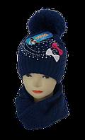 Шапка+шарф для девочек Камни м 7041,3-12 лет, флис (В.И.В.)