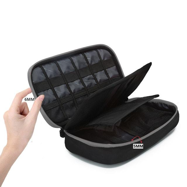 Многофункциональный органайзер для гаджетов черно-серый внутри