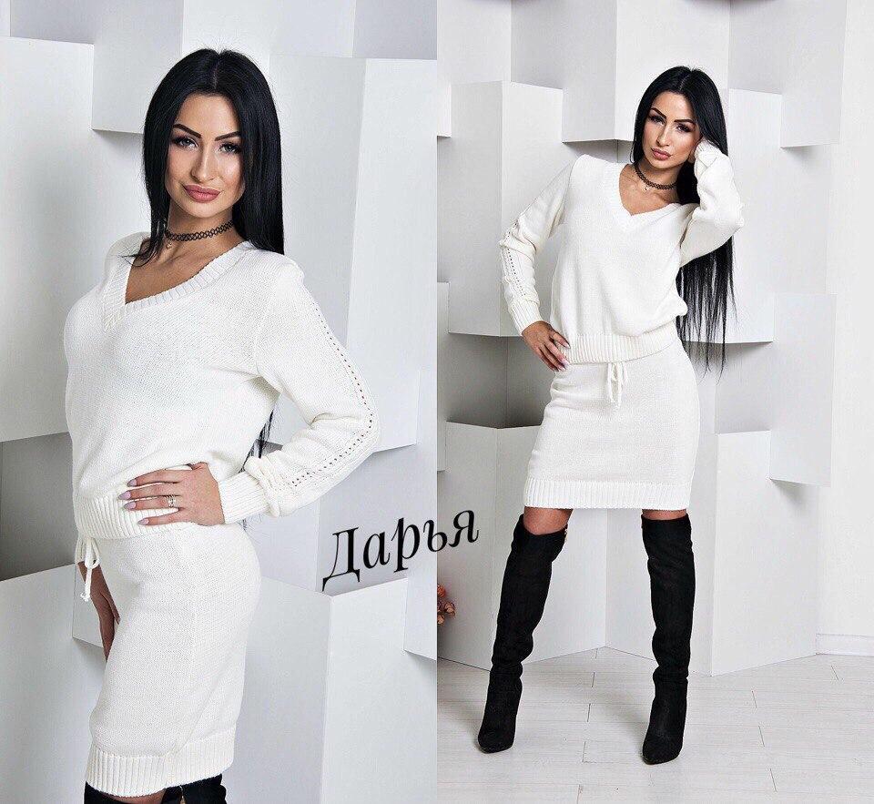 bfdde9a361b Женский вязаный костюм юбка и свитер с декольте в разных цветах ...