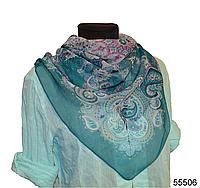 Легкий бирюзовый женский шелковый платок