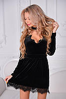 Короткое бархатное платье с чокером