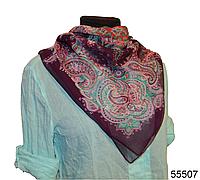 Легкий фиолетовый женский шелковый платок