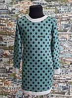 Детское платье Кокетка р.116-128 зелёное в чёрный горох
