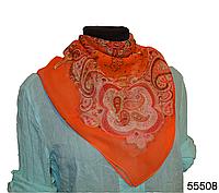 Легкий оранжевый женский шелковый платок, фото 1