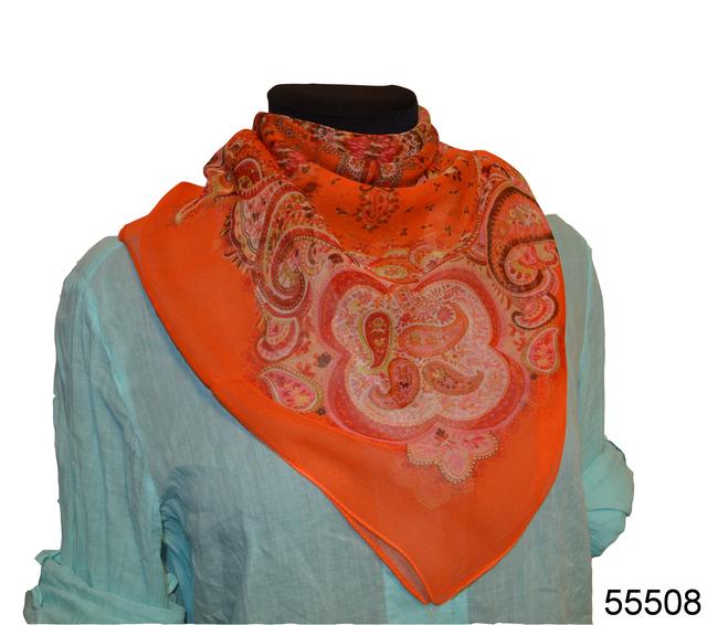 Купить легкий оранжевый женский шелковый платок 1
