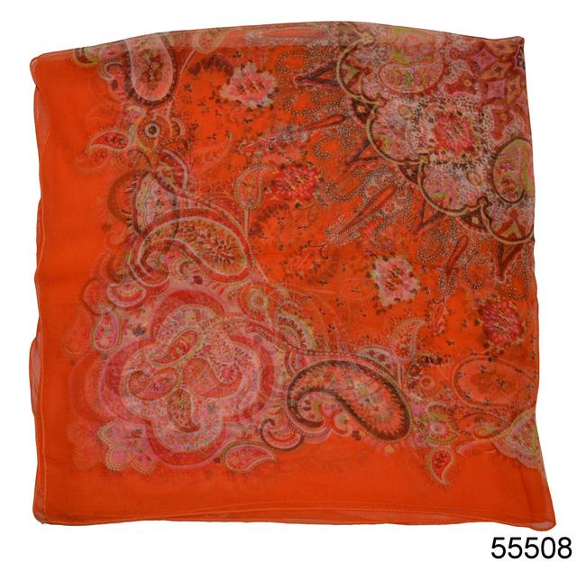 Купить легкий оранжевый женский шелковый платок 2