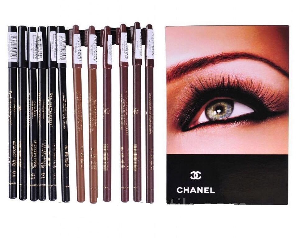 Карандаш для глаз и бровей CHANEL (6 черных для глаз + 6 для бровей)  - Интернет-магазин molly в Харькове