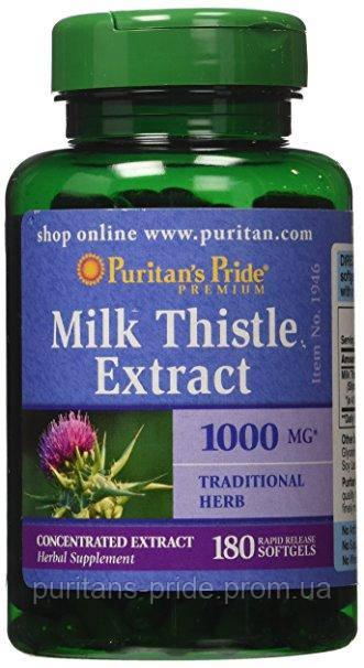 Расторопша для очистки печени, Puritan's Pride Milk Thistle 4:1 Extract 1000 mg (Silymarin) 180 Softgels