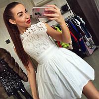 Женское кружевное платье с пышной юбкой (2 цвета)