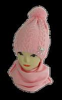 Комплект для девочки шапка на флисе и шарф р 3-12 лет   (В.И.В.)