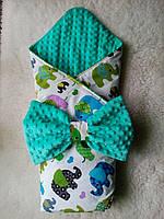 """Конверт-одеяло для новорожденного мальчика  """"Слоники"""""""