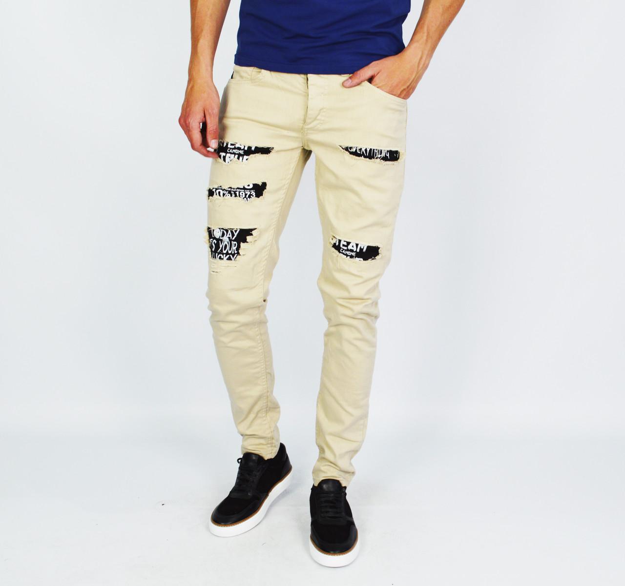 Бежевые мужские рваные джинсы зауженные MARIO MORATO с надписями