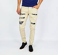 Бежевые мужские рваные джинсы зауженные MARIO MORATO с надписями, фото 1