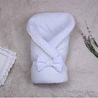 """Вязаный демисезонный конверт-одеяло """"Глория"""" белый"""