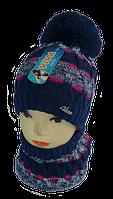 Шапка+шарф для девочек м 7050, 5-15 лет, флис   (В.И.В.)