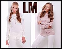 44 46 48 50 р Нежный свитер 8820 женский шерстяной зимний модный джемпер теплый ажурный красивый батал