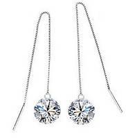 Серьги длинные Tiffany Звездное Сияние покрытие серебром 925 (TF-E045)