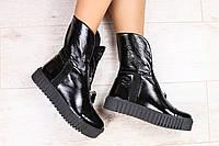 Женские демисезонные ботинки, черные, из натуральной лаковой кожи, с молнией, на толстой черной подошве