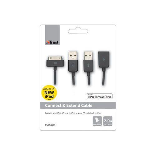 USB кабель Trust iPhone 2/3/3Gs/4/4s/iPod/iPad 30-pin, 2m black