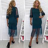 Стильное  женское платье трикотаж+ сетка размер 48,50,52,54, фото 2