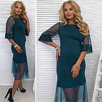 Стильное  женское платье трикотаж+ сетка размер 48,50,52,54
