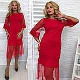 Стильное  женское платье трикотаж+ сетка размер 48,50,52,54, фото 3