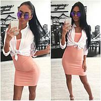 Женское стильное платье по фигуре и болеро из шифона + (Большие размеры)